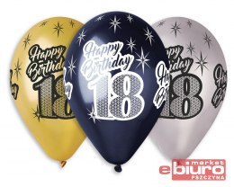 "BALON PREMIUM HAPPY BIRTHDAY 18 METALIK 12"" 6 SZT."