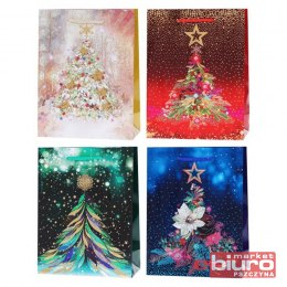 TORBA PREZENTOWA LUX 210GSM XMASS TREE WIDE BOTTON